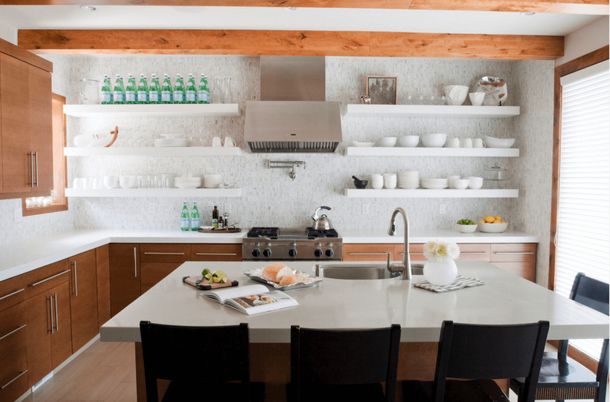 4 Alternatives to Bulky Upper Cabinets in the Kitchen - Open Shelving